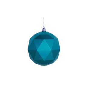 "Aria Geometric Sphere Ornament 6"" Set of 4 Teal Matte"