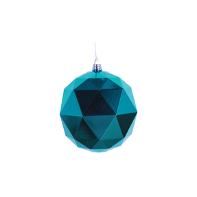 "Aria Geometric Sphere Ornament 6"" Set of 4 Teal Shiny"