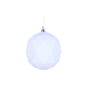 "Aria Geometric Sphere Ornament 6"" Set of 4 White Shiny"
