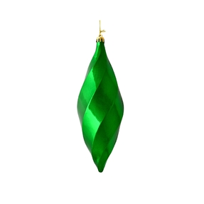 "Arielle Drop Ornament 8"" Set of 6 Green Shiny"
