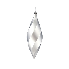 "Arielle Drop Ornament 8"" Set of 6 Silver Matte"