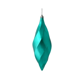 "Arielle Drop Ornament 8"" Set of 6 Teal Shiny"
