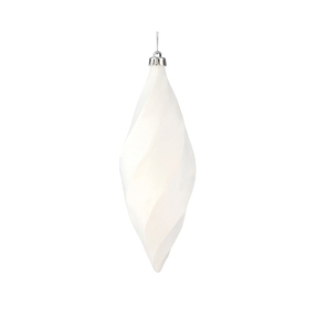 "Arielle Drop Ornament 8"" Set of 6 White Matte"