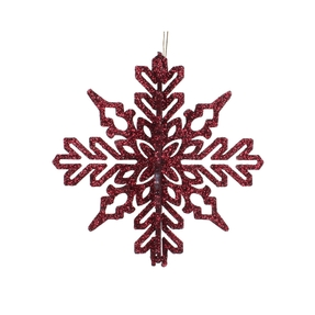 "Aurora 3D Snowflake 6"" Set of 3 Burgundy"