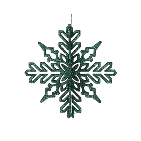 "Aurora 3D Snowflake 6"" Set of 3 Emerald"