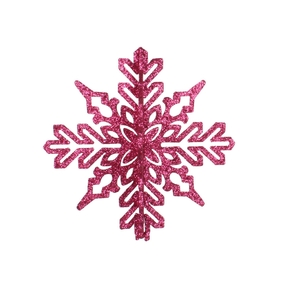 "Aurora 3D Snowflake 6"" Set of 3 Fuchsia"