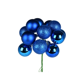 "Blue Ball Ornament Cluster 12"" Mixed Finish Set of 4"