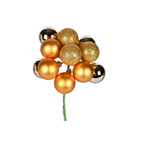 """Gold Ball Ornament Cluster 12"""" Mixed Finish Set of 4"""