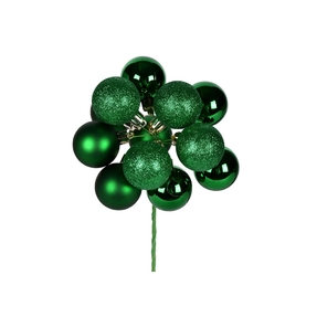 "Green Ball Ornament Cluster 12"" Mixed Finish Set of 4"