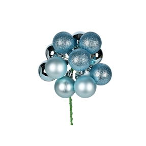 """Ice Blue Ball Ornament Cluster 12"""" Mixed Finish Set of 4"""