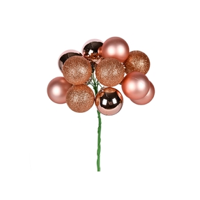 "Rose Gold Ball Ornament Cluster 12"" Mixed Finish Set of 4"