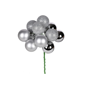 """Silver Ball Ornament Cluster 12"""" Mixed Finish Set of 4"""
