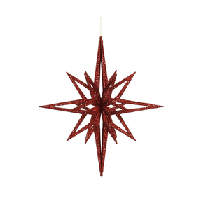 """Bethlehem Glitter Star 16"""" Red"""