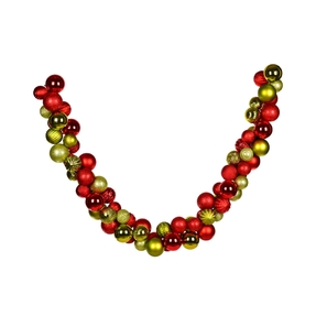 Bijou Ornament Garland 7' Red/Lime