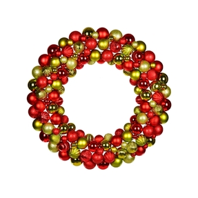 "Bijou Ornament Wreath 24"" Red/Lime"