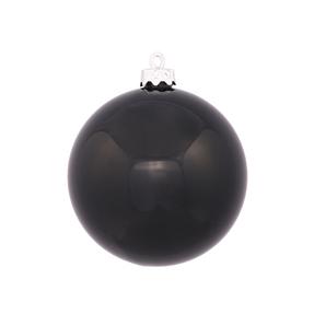 "Black Ball Ornaments 6"" Shiny Set of 4"