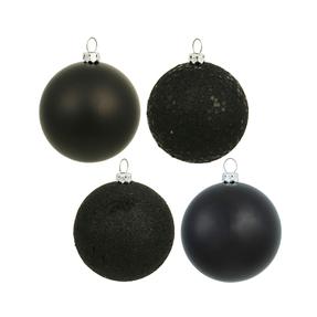 "Black Ball Ornaments 10"" Assorted Finish Set of 4"