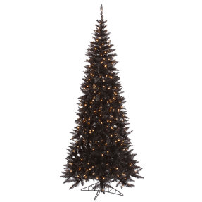 7.5' Black Fir Slim w/ LED Lights