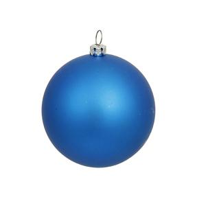 "Blue Ball Ornaments 4"" Matte Set of 6"