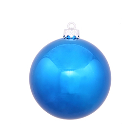 "Blue Ball Ornaments 4"" Shiny Set of 6"