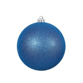 "Blue Ball Ornaments 4"" Glitter Set of 6"