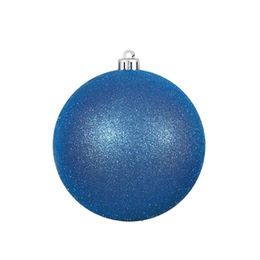 "Blue Ball Ornaments 4.75"" Glitter Set of 4"