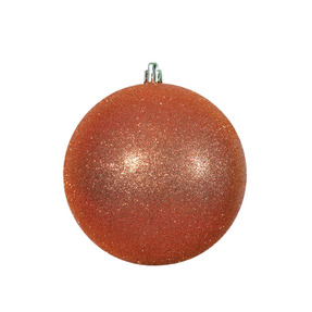 "Burnished Orange Ball Ornaments 8"" Glitter Set of 4"