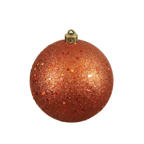 "Burnished Orange Ball Ornaments 8"" Sequin Set of 4"