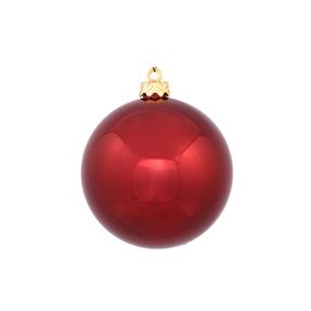 "Burgundy Ball Ornaments 6"" Shiny Set of 4"