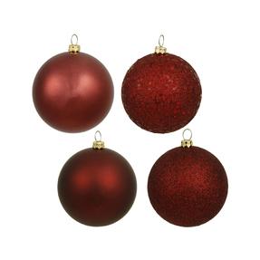 "Burgundy Ball Ornaments 8"" Assorted Finish Set of 4"