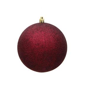 "Burgundy Ball Ornaments 4"" Glitter Set of 6"