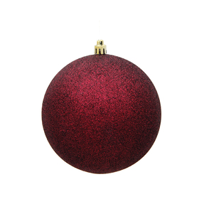 "Burgundy Ball Ornaments 8"" Glitter Set of 4"