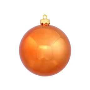 "Burnished Orange Ball Ornaments 8"" Shiny Set of 4"