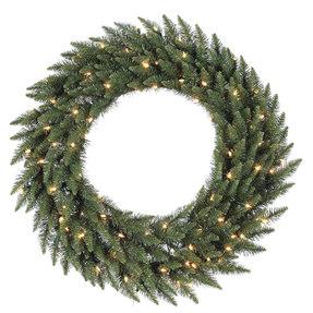 7' Camdon Fir Wreath w/ Clear Lights