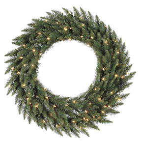 6' Camdon Fir Wreath w/Clear Lights