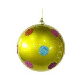 "Polka Dot Candy Ball Ornament 8"" Set of 6 Lime"