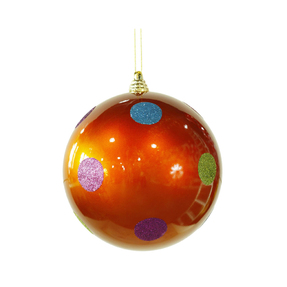 "Polka Dot Candy Ball Ornament 8"" Set of 6 Orange"