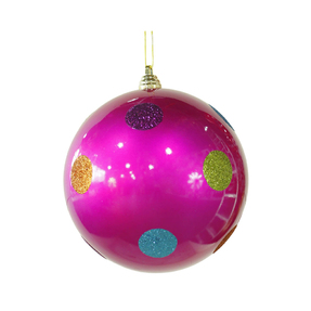 "Polka Dot Candy Ball Ornament 8"" Set of 6 Hot Pink"