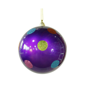 "Polka Dot Candy Ball Ornament 5.5"" Set of 12 Purple"