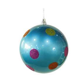 "Polka Dot Candy Ball Ornament 8"" Set of 6 Turquoise"