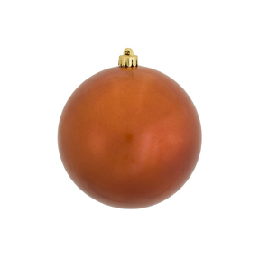 "Burnished Orange Ball Ornaments 4"" Candy Finish Set of 6"