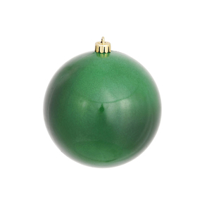 """Emerald Ball Ornaments 4"""" Candy Finish Set of 6"""