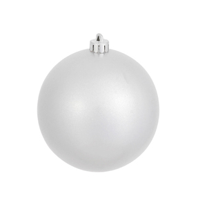 """Silver Ball Ornaments 4"""" Candy Finish Set of 6"""