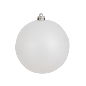 "White Ball Ornaments 4"" Candy Finish Set of 6"
