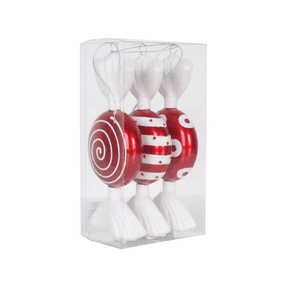 "Peppermint Ornament Trio 7"" Set of 3 Asst."