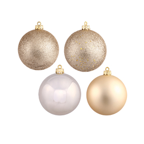 "Champagne Ball Ornaments 8"" Assorted Finish Set of 4"