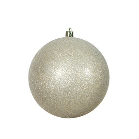 "Champagne Ball Ornaments 4"" Glitter Set of 6"