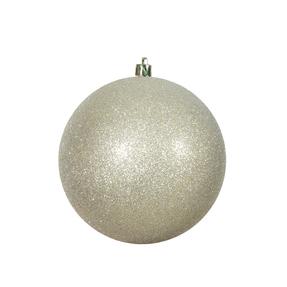 "Champagne Ball Ornaments 4.75"" Glitter Set of 4"