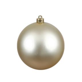 "Champagne Ball Ornaments 4"" Matte Set of 6"