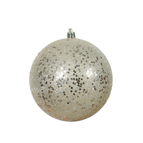 "Champagne Ball Ornaments 4"" Sequin Set of 6"